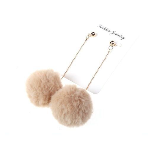 Faux Fur Pom Ball Stud Earrings Retro Disco 80/'s Pop Ear Accessories Acvt