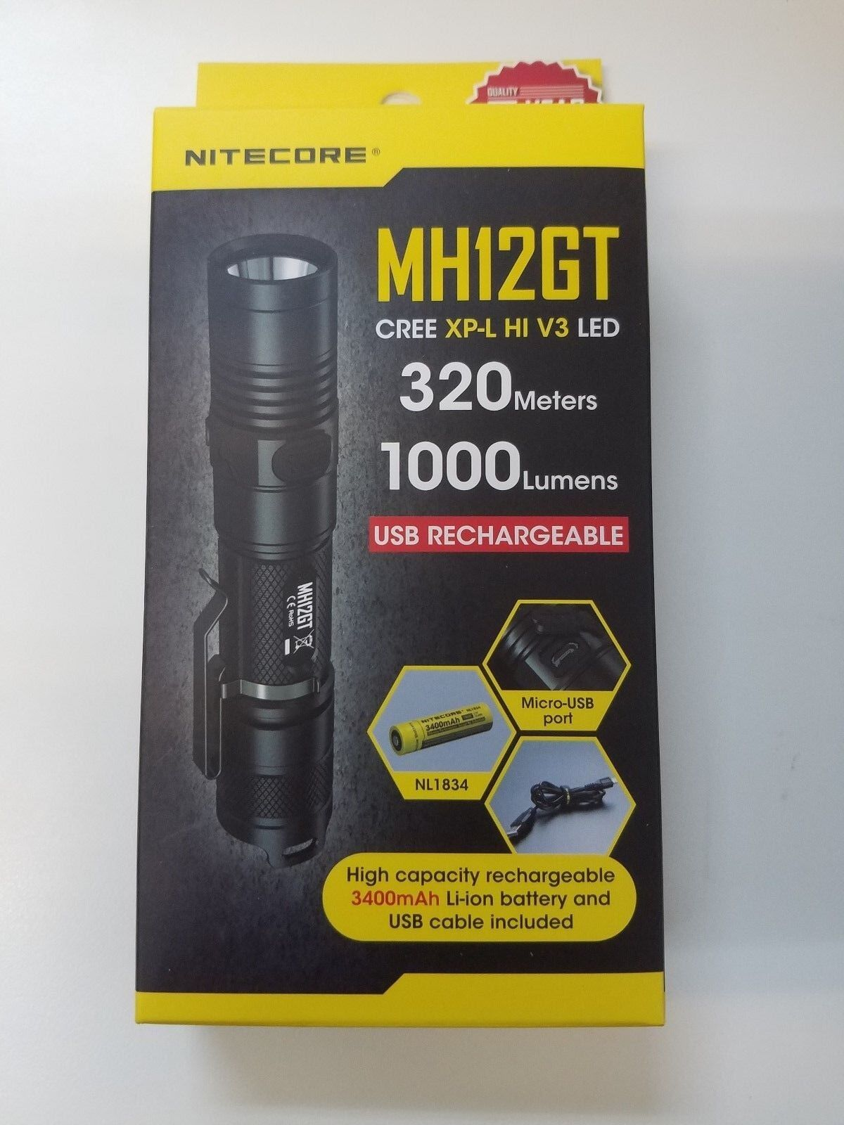 Nitecore MH12GT CREE XP-L HI V3 LED  USB Rechargeable Tactical Flashlight  all in high quality and low price