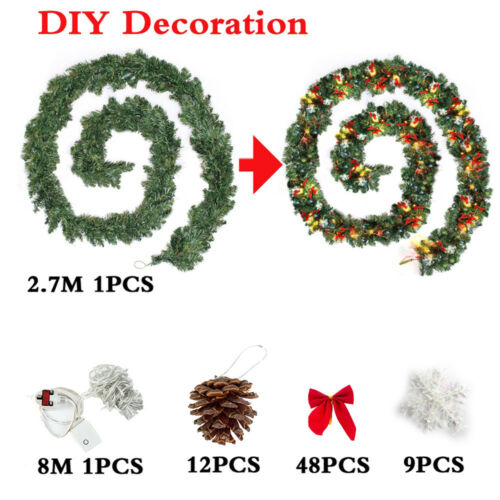 Christmas Garland Decorations Spruce DIY Xmas Festive Berry Pine Cones Home AT