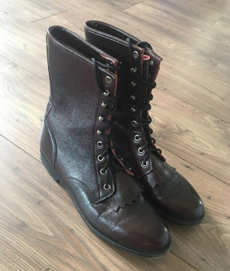 Damenschuhe Justin Cherry Braun L514 Western Lace Up Roper Stiefel Sz 8B Leder Fringe