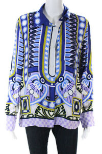 La-Double-J-Womens-Printed-Satin-Long-Sleeve-Button-Up-Blouse-Blue-Size-L