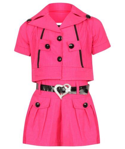 Girls Kids Summer Short Fashion Hot Pink Fusia Dress 2 Piece Beach Holiday Strip