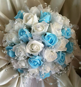 Wedding flowers brides posy bouquet whitelight blue with crystal image is loading wedding flowers brides posy bouquet white light blue junglespirit Images