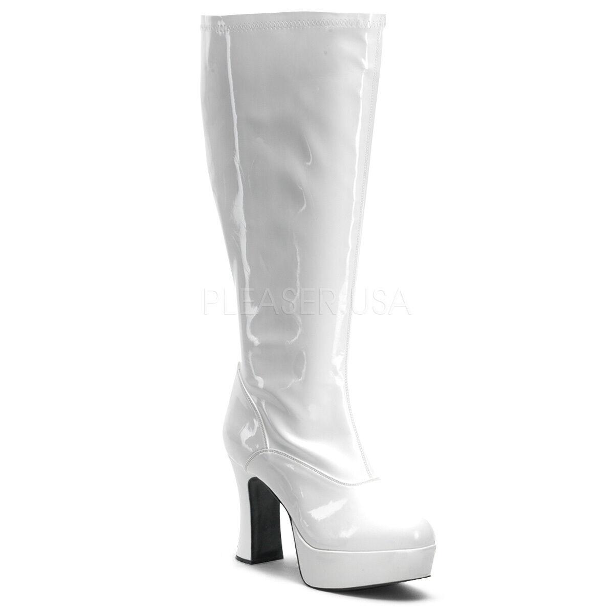 Sexy WIDE WIDTH WIDE CALF White 4  Heels Platform Costume Gogo Dancer Knee Boots