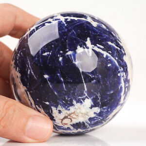 455g 72mm Large Natural Blue Sodalite Quartz Crystal Sphere Healing Ball Chakra