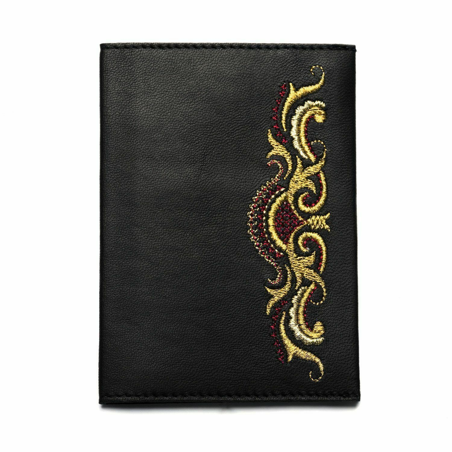 Charming Pretty Genuine Leather Passport Cover with embroidered pattern