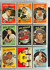 1959 Topps Baseball COMPLETE SET! MANTLE MAYS MARIS GIBSON !MOST EX-EX+ VINTAGE