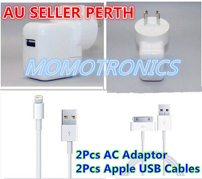 2x APPLE AC Wall Charger Adapter and Cable for iPhone 4 4s 5 5s 5c iPad Mini Air