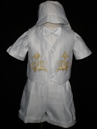0M-30M INFANT BOY /& TODDLER  CHURCH BAPTISM VEST SHORTS SUIT SILVER 0 1 2 3 4