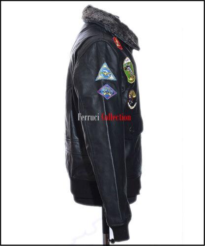 Black Top da di vera Colletto pelle Gun vacchetta uomo Retro Bomber in 77wF5rqtT