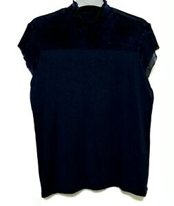Highneck-Navy-Capsleeve-Top-with-lace-details