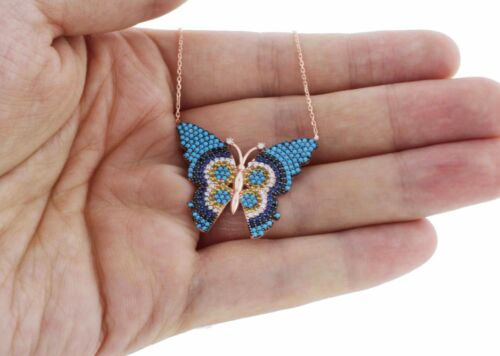 925 Argent Sterling Or Rose Vermeil turc evil eye Design Papillon Collier