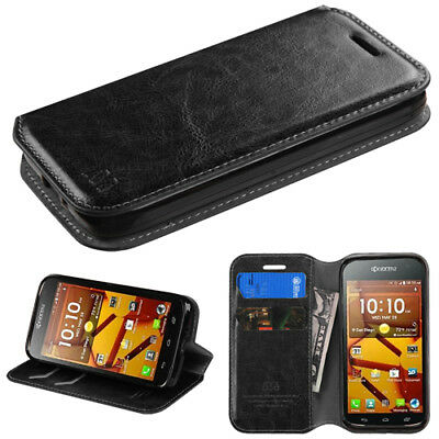 best website ac5af b8986 Kyocera Hydro ICON C6730 Premium Wallet Case Pouch Flap STAND Phone Cover  Black | eBay