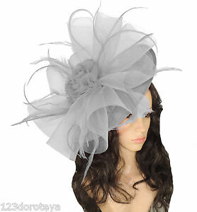 Image is loading GREY-Fascinator-Hat-for-weddings-ascot-proms-M2 b24ae8bcb52