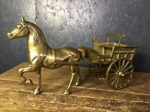 Large-Vintage-Brass-Horse-And-Cart