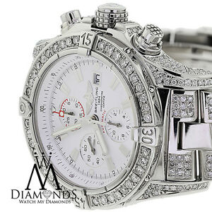 90c88d8cc91 Image is loading Breitling-Super-Avenger-White-A13370-Covered-Over-13Ct-