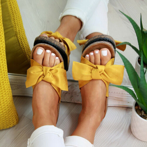 Shoes Mule Summer Sandals Womens Slippers Comfy Loafer Shoes Bow Flat Sliders
