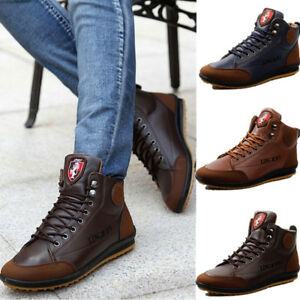 Winter Men/'s Casual Leather High Top Sneaker Lace-up Work Shoes Ankle Boots #B15