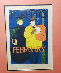 Antique-Colorful-Framed-Harpers-Magazine-Cover-Print-February-1896-Penfield