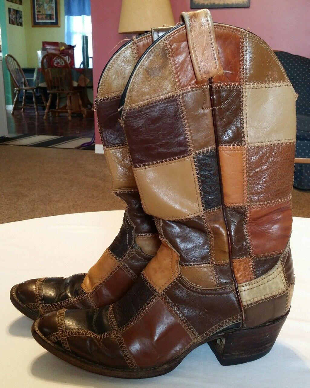 Damenschuhe Vintage Larry Mahan Patchwork Quilt Leder Cowboy Stiefel BML286B3