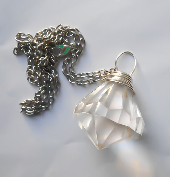 Sailor Moon Silver Imperium Crystal Silver Wire Wrapped Necklace Cosplay