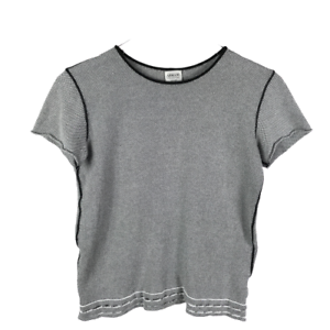 Armani-Collezioni-Womens-Knit-Top-Size-12-Black-White-Made-in-Italy-Short-Sleeve