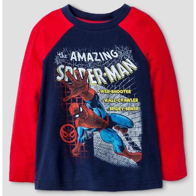 Marvel Amazing Spiderman Boys Spider Man Web Long Sleeve Toddler T Shirt