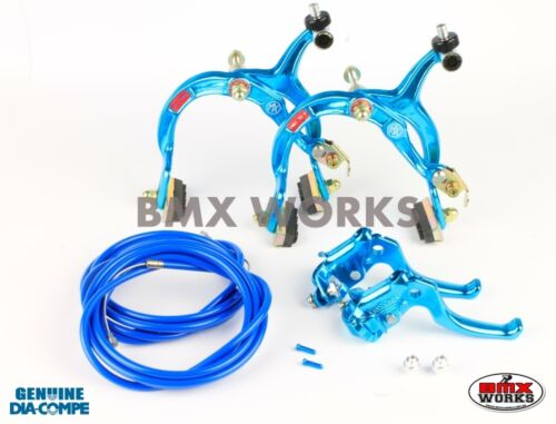 Dia-Compe MX1000 - MX122 Bright Blue Brake Set - Old Vintage School BMX