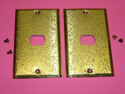 NOS! 2-HOLE 2 BELL INTERCHANGE 1-GANG ANTIQUE COPPER FINISH WALL PLATE