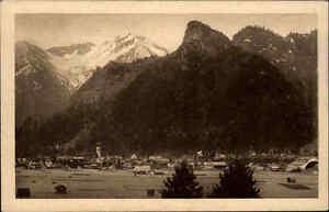 Oberammergau Postkarte ~1920/30 Totale mit Passionstheater Notspitze und Kofel