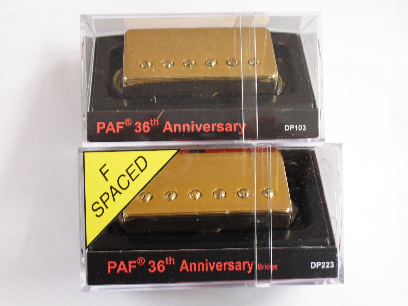 DiMarzio R-s F-s 36th Anniversary Neck Bridge Set Single Conductor W Gold Covers