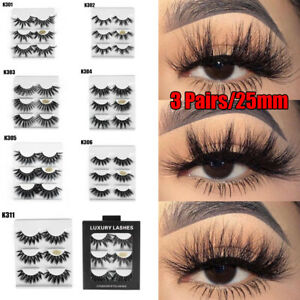 SKONHED-3-Pairs-25mm-3D-Mink-Hair-Thick-False-Eyelashes-Wispy-Fluffy-Lashes-New