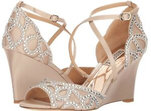06cbc50df257 New BADGLEY MISCHKA Winter Size 6.5 Nude Satin Crystal Embellished ...