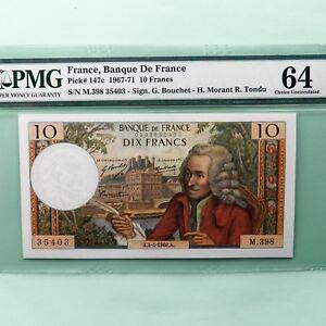 1968 France 10 Francs, Pick # 147c, PMG 64 Choice Unc.