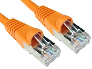 0.5 M Rj45 Câble Ethernet Cat 6 A Blindé Snagless Patch Réseau Lan Plomb Orange-afficher Le Titre D'origine