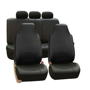 Royal PU Leather Black 2Row Set Car Seat Covers for High Back Bucket Seats