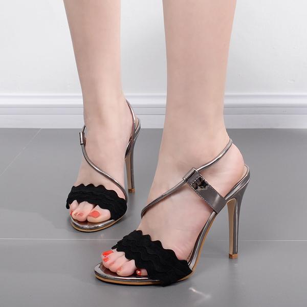 Damens's Sandale 11 cm elegant stiletto silver schwarz fashion like Leder CW627