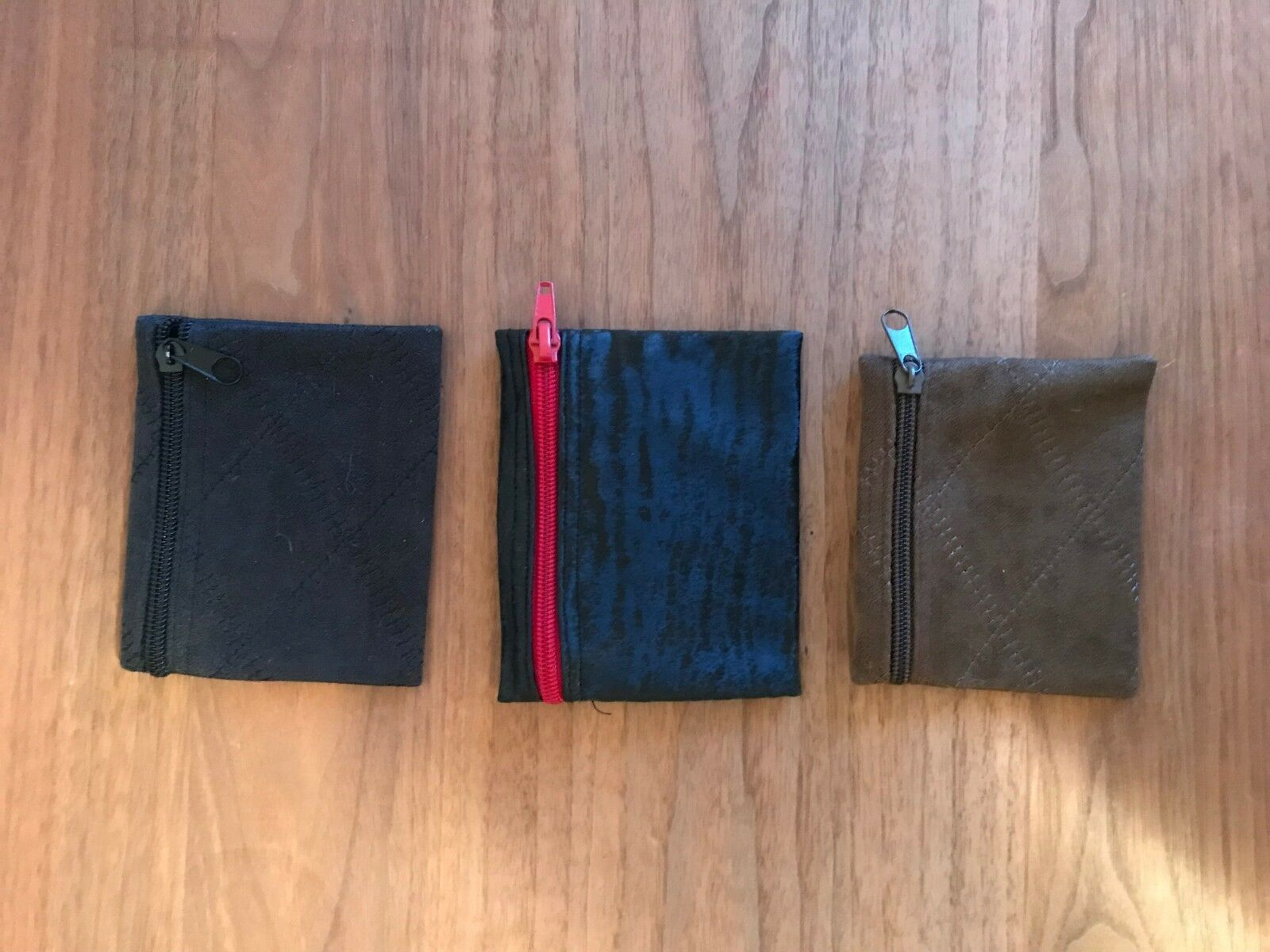 Set of 3 - 3 Faux Suede Pouches Wallets - Brown & Black Zippered Length 4