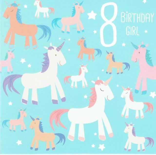 Unicorn Age 8 Birthday Girl 8th Birthday Card Unicorns Design Ebay