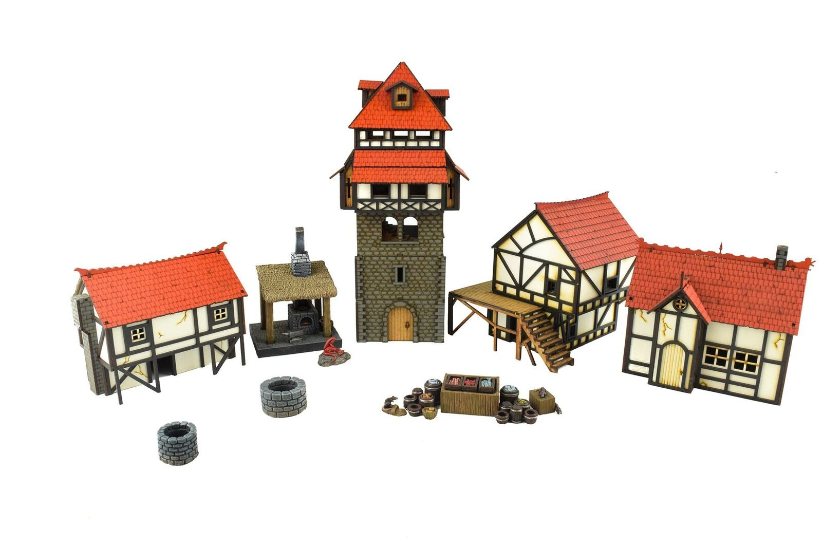 WWG Medieval Town (Painted Unpainted) Market Square Set – 28mm Wargame Terrain