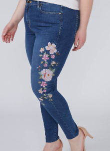 Lane Bryant beautiful sexy super stretch floral embroidered skinny jeans size 28