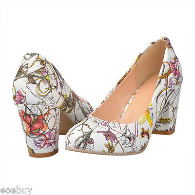 Women's Floral Print Synthetic Leather Round Toe Pumps Mid Heel Shoes UK Sz D058