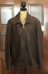 662b679d7 Johnston & Murphy Men's Brown Leather Jacket Size XLarge w ...