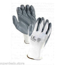 12 PAIRS White 13 Gauge Nylon, Gray Nitrile Palm Coated Textured Glove - X-Large