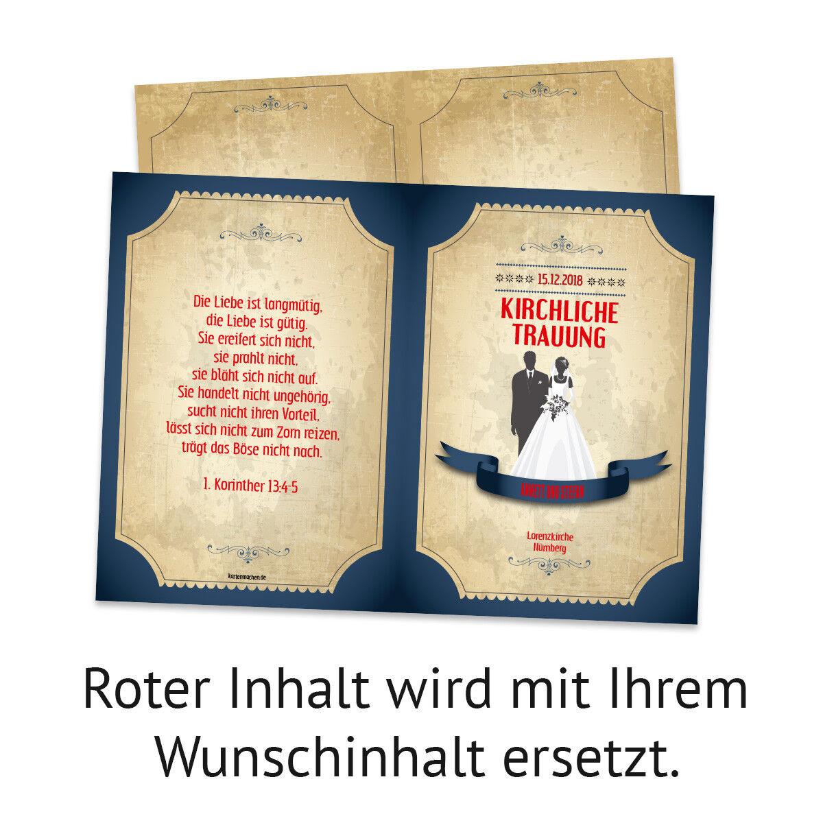 Kirchenheft Hochzeit individuell Klappkarte Klappkarte Klappkarte - Retro Vintage Brautpaar in Blau aa476b