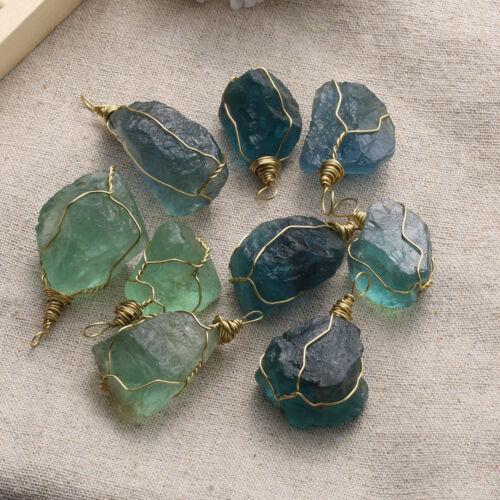 2018Irregular Natural Fluorite Quartz Crystal Pendant Healing Stone Collectibles