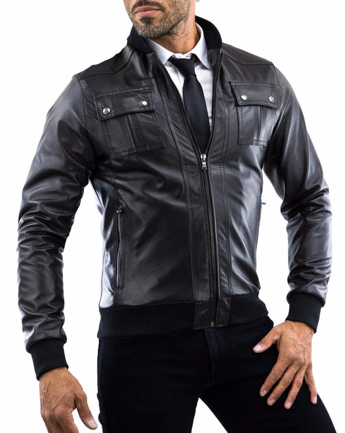 DE Herren Lederjacke Biker Manteau Veste en Cuir pour Homme Homme Veste En cuir J11a4