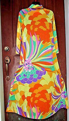 Vtg Womans Lorraine MOD Floral Psychedelic Nylon Lounge Dress Housecoat ROBE S