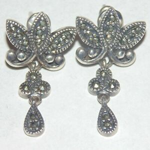 Vintage-sterling-silver-marcasite-pierced-post-earrings-nouveau-style-signed-NF