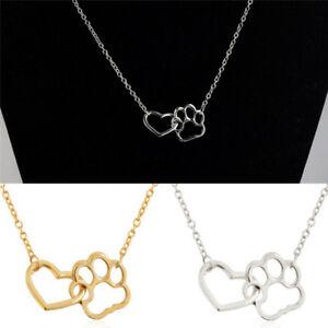Frauen-Mode-Hund-Klaue-Anhaenger-Halskette-Herz-Hohle-Halskette-Charme-Schmuck